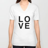 helvetica V-neck T-shirts featuring LOVE helvetica by Rue du chat qui peche