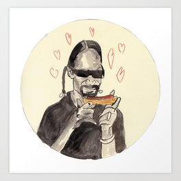 Snoop Dogg in love with a Hotdog Art Print