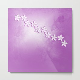 Abstract flowers and texture in pink Metal Print
