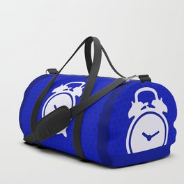 Electric Blue Mornings - with white alarm clock Duffle Bag
