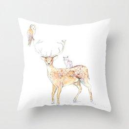 Deer with friends Throw Pillow