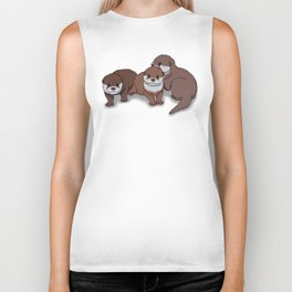 Romp of Baby Otters Biker Tank