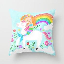 Unicorns, Mermaids & Rainbows...Oh My! Throw Pillow