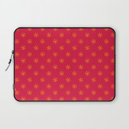 Amber Orange on Crimson Red Snowflakes Laptop Sleeve