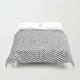 Black & White Hand Drawn ZigZag Pattern Duvet Cover
