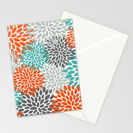 Floral Pattern, Abstract, Orange, Teal and Gray Stationery Cards
