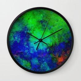 Awaken - Blue, green, abstract, textured painting Wall Clock
