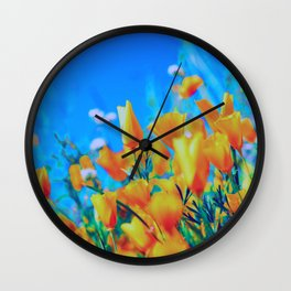 Retro 80s Vintage Poppies Floral Retro Film Wall Clock
