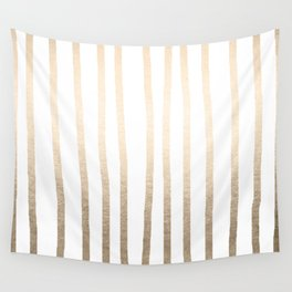 Simply Drawn Vertical Stripes in White Gold Sands Wall Tapestry