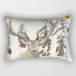 Deer in the Winter Forest Rectangular Pillow