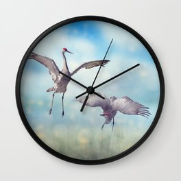 Pair of Sandhill Cranes  dance in the Florida wetlands Wall Clock