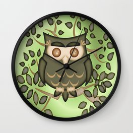 The Wise Old Owl .. fantasy bird Wall Clock
