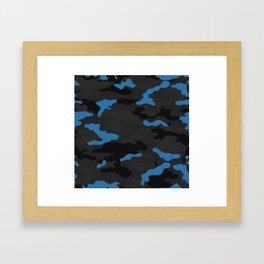 Blue camouflage Framed Art Print