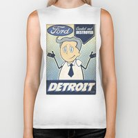 detroit Biker Tanks featuring Detroit by Sophie Broyd