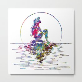 The Little Mermaid Ariel Silhouette Watercolor Metal Print