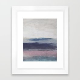 Plum Purple Navy Lavender Blue Abstract Painting Wall Art Prints, Ocean Waves Horizon, Modern Wall Framed Art Print