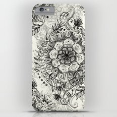 Messy Boho Floral in Charcoal and Cream  Slim Case iPhone 6 Plus