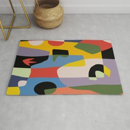 Geometry cut out abstract collage Rug