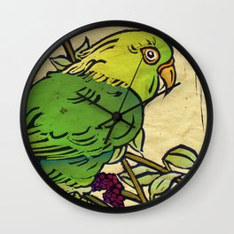 Parrot Linocut Wall Clock