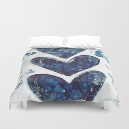 Three hearts are better than two. Duvet Cover