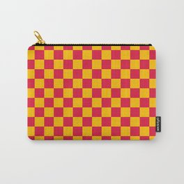 Amber Orange and Crimson Red Checkerboard Carry-All Pouch