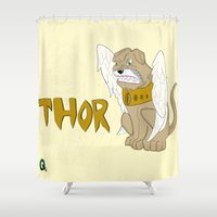 thor Shower Curtains featuring Thor by QUED