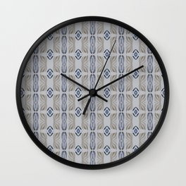 Grey Taupe Linen Blue Watercolor Pattern Wall Clock