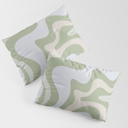 Liquid Swirl Contemporary Abstract Pattern in Light Sage Green Pillow Sham
