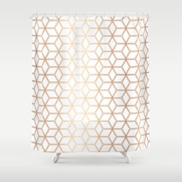Geometric Hive Mind Pattern - Rose Gold #113 Shower Curtain
