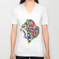 gorilla V-neck T-shirts featuring Gorilla by Narek Gyulumyan