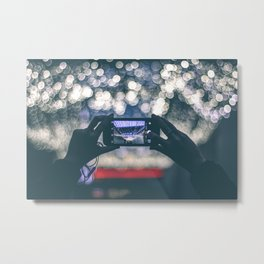 Woman Holding Phone To Capture Picture Metal Print