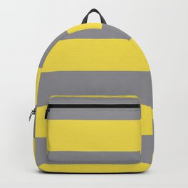 Hand Drawn Fat Horizontal Line Pattern Pantone 2021 Color Of The Year Illuminating and Ultimate Gray  Backpack