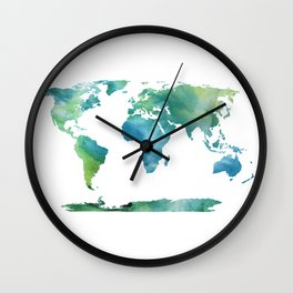Ice Dyed World Map 4 Wall Clock