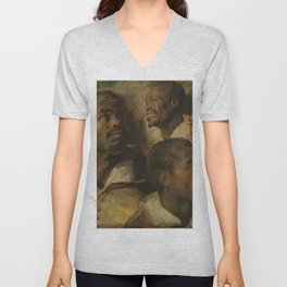 Four Studies of a Head of a Moor by Peter Paul Rubens Unisex V-Neck