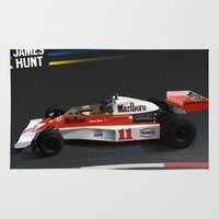 f1 Area & Throw Rugs featuring James Hunt McLaren F1  | Car | Automotive | Formula One by Automotive Art