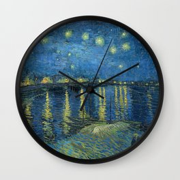 Van Gogh, Starry Night Over The Rhone Artwork Reproduction, Posters, Tshirts, Prints, Bags, Men, Wom Wall Clock