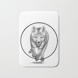 The Fox Running - Animal Drawing Series Bath Mat