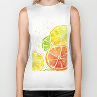 fruit Biker Tanks featuring Fruit Watercolor by Olechka