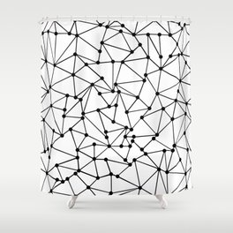 Ab Out Lines With Spots White Shower Curtain