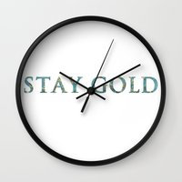 stay gold Wall Clocks featuring STAY GOLD by Josephine