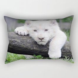 'Too Pooped to Pop' Baby Albino Lion Cub Rectangular Pillow