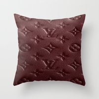 lv Throw Pillows featuring Burgundy LV by Luxe Glam Decor