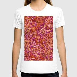 Marigold Lino Cut, Batik Red And Purple T-shirt