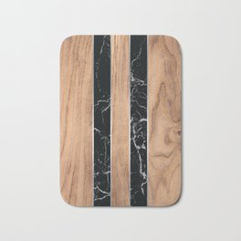 Wood Grain Stripes Black Granite #175 Bath Mat