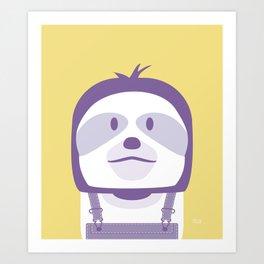 Minimal Sloth on Yellow Art Print