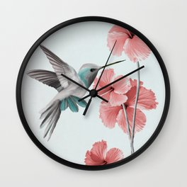 Hummingbird with Hibiscus Wall Clock
