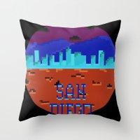 san diego Throw Pillows featuring San Diego by Simon Alenius