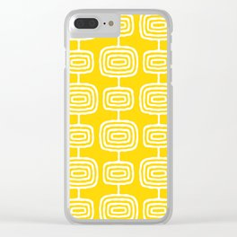 Mid Century Modern Atomic Rings Pattern Yellow Clear iPhone Case
