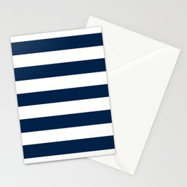 Oxford blue - solid color - white stripes pattern Stationery Cards