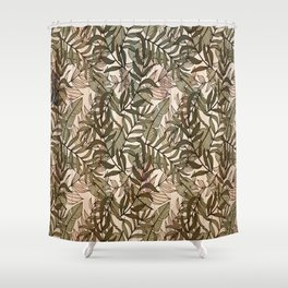 Green and Beige Little Monstera Leaves Shower Curtain